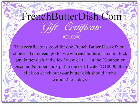 French Butter Dish Gift Certificate
