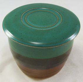 Teal and brown French Butter Dish - On vacation, will ship August 4th