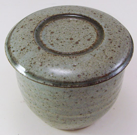 Stony Gray with green/brown French Butter Dish